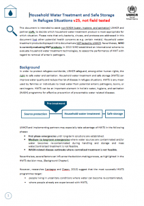 Household Water Treatment and Safe Storage in Refugee Situations (UNHCR, 2015)