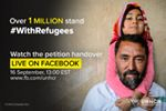 More than 1 million people signed our petition to stand #WithRefugees. The petition calls on world leaders and governments to act with solidarity and shared responsibility, to ensure every refugee child gets an education, every refugee family has somewhere to live, and every refugee can work or learn new skills.    Now it's time to hand it over to the @[54779960819:274:United Nations] Secretary-General and the President of the UN General Assembly.   Join us here, live, from 12pm EST, 5pm GMT, for a Facebook Live  broadcast, with special guests, from the heart of the UN in New York.