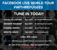 With one day to go before we hand over the #WithRefugees petition to UN chief Ban Ki-moon at the General Assembly in New York, today's leg of the Facebook Live global tour features our supporters  @[100003075265942:2048:Osvaldo Laport], @[275010929186645:274:Dianna Agron], @[1646363578956963:274:Bassem Youssef], and @[114632788655:274:Kristin Davis]! Post your questions on their pages or below this post, and watch all the lives here.