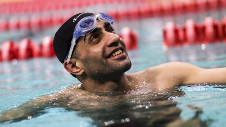 """Ibrahim al-Hussein, a 27 year old refugee from Syria, during a swimming training session in the former 2004 Olympic sport complex in Athens. ; Ibrahim al-Hussein will carry the Olympic Flame in Athens as part of the torch relay for the 2016 Games in Rio de Janeiro. The symbolic gesture is meant to show solidarity with the world's refugees at a time when millions are fleeing war and persecution worldwide and an it's an immense privilege for the a 27 year old refugee from Syria who once dreamed of competing in the Olympics and whose athletic career was interrupted by the war and an injury that cost him part of his right leg after a bombing in his home town of Deir ez-Zor. """"It is an honor,"""" Ibrahim says of bearing the Olympic flame. """"Imagine achieving one of your biggest dreams. Imagine that your dream of more than 20 years is becoming a reality.""""   Ibrahim commits himself to a rigorous training schedule. Three days per week, He swims with ALMA, a Greek nonprofit organization for athletes with disabilities. His training is held in the former 2004 Olympic sport complex in Athens. He is also part of a wheelchair basketball league that meets five times per week and travels throughout the country for games.  Ibrahim does all this despite working a 10-hour overnight shift at a cafe in Anthoupoli, an Athens suburb 30 minutes by train from his home.  """"It's not just a game for me,"""" Ibrahim says of his commitment to athletics. """"It's my life."""""""