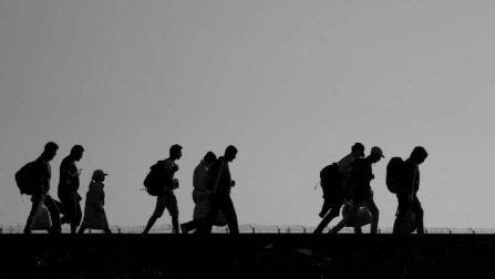 Refugees and migrants cross the border between Serbia and Hungary. © Hollandse Hoogte/Warren Richardson